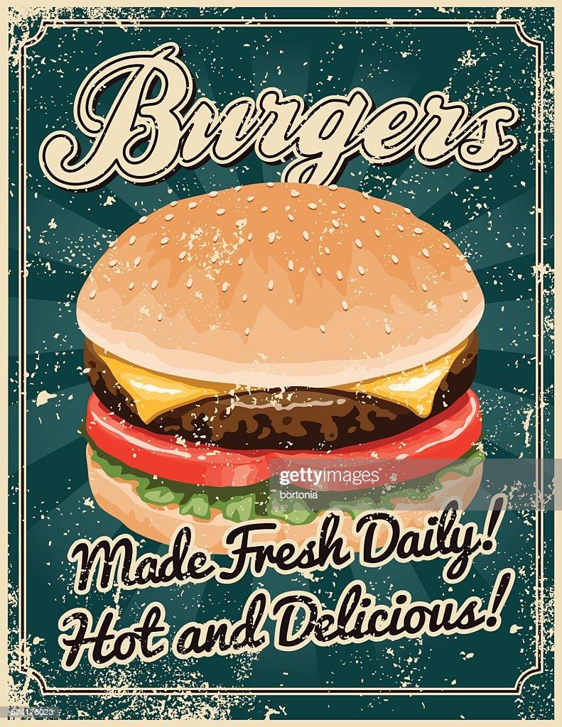 Vintage Screen Printed Burger Poster : stock illustration