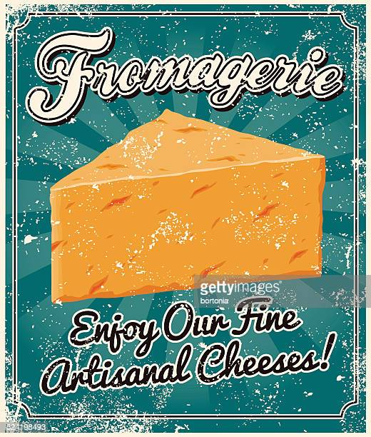 vintage screen printed cheese poster - cheddar cheese stock illustrations, clip art, cartoons, & icons