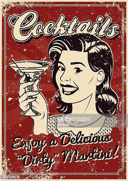 vintage screen printed cocktail poster - martini stock illustrations