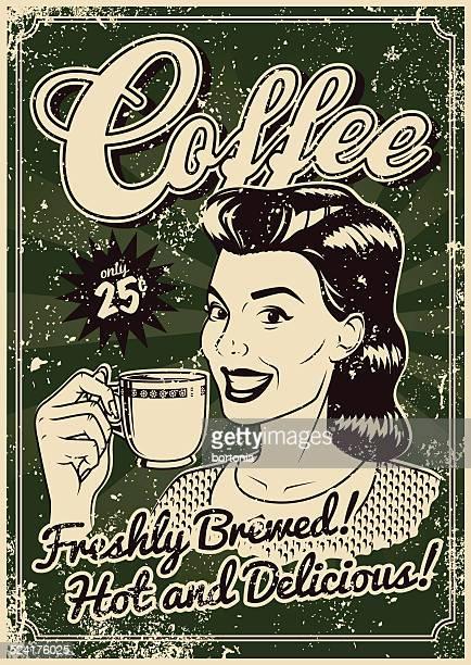 ilustrações, clipart, desenhos animados e ícones de screen poster vintage café - café bebida