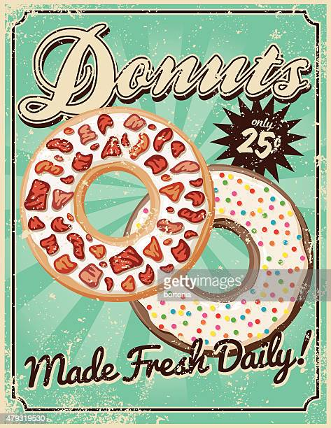 vintage screen printed donuts poster - donut stock illustrations, clip art, cartoons, & icons