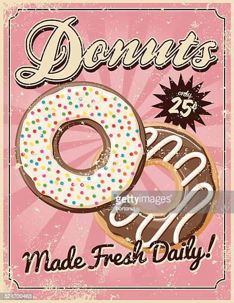 Vintage-Siebdruck-Donuts Poster