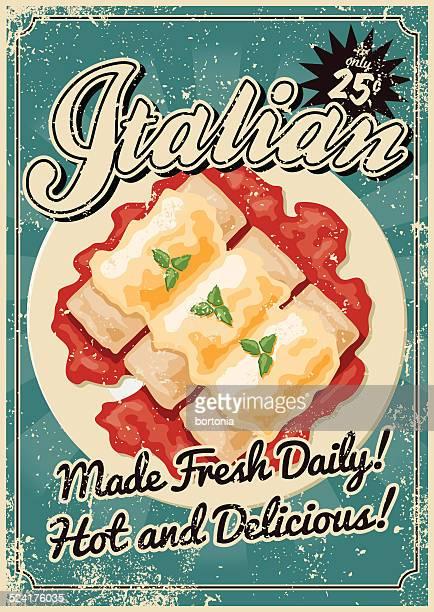ilustrações, clipart, desenhos animados e ícones de vintage poster screen comida italiana - cultura italiana