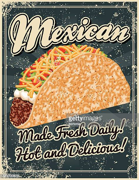 vintage screen printed mexican food poster - bean stock illustrations