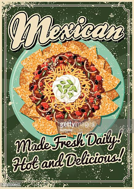 vintage screen printed mexican food poster - mexican food stock illustrations, clip art, cartoons, & icons