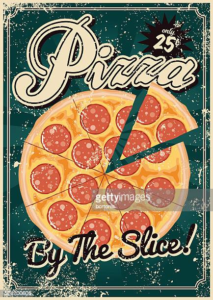 Vintage Screen Printed Pizza Poster