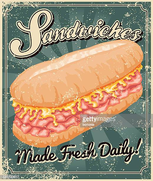 vintage screen printed sandwich poster - cheddar cheese stock illustrations, clip art, cartoons, & icons