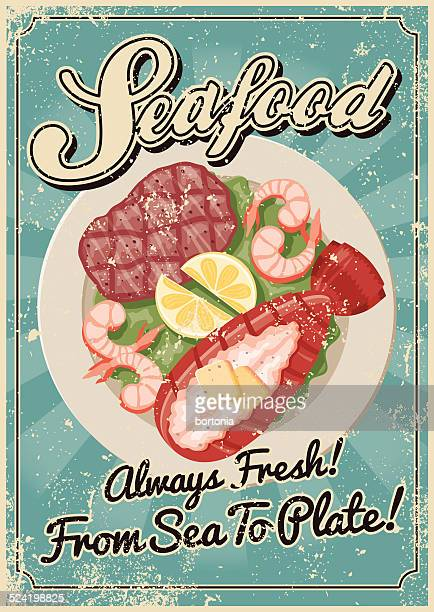 Vintage Screen Printed Seafood Poster