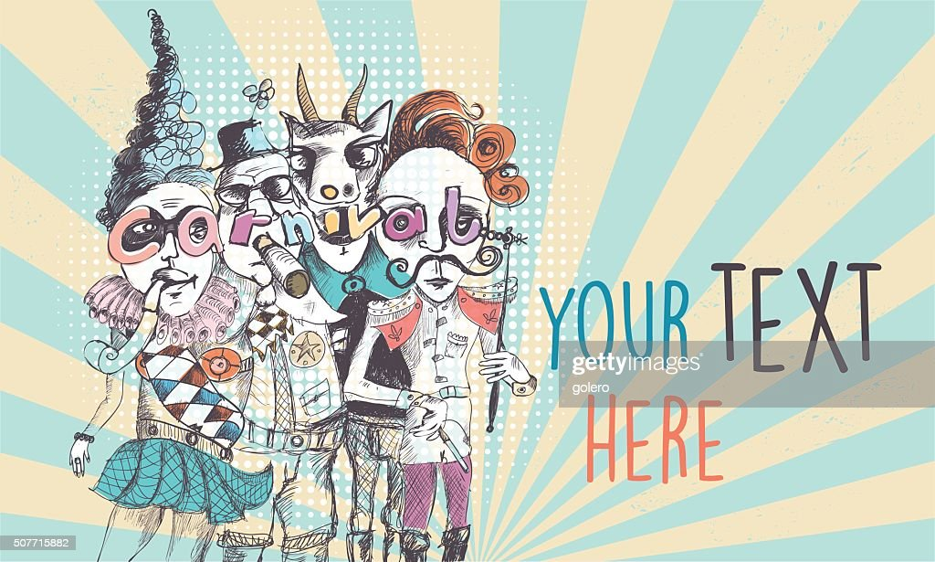 vintage scribbled surreal carnival people background : Illustrationer