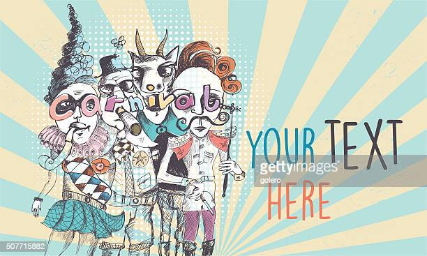 vintage scribbled surreal carnival people background