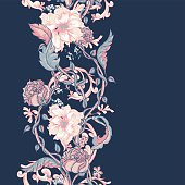 Vintage seamless border with blooming magnolias, roses and twigs