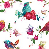 Vintage Seamless pattern: birds, butterfly and flowers.