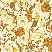 Vintage seamless pattern with blooming magnolias, roses and twig