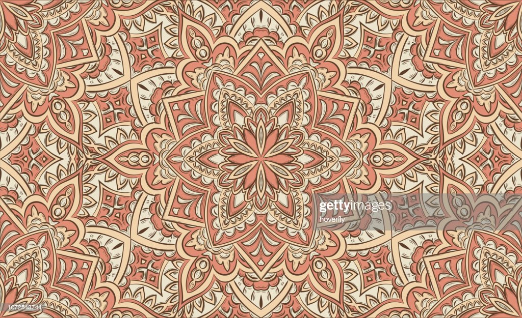 Vintage seamless pattern with detailed curl elements.