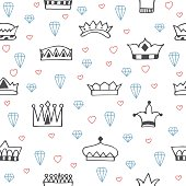 Vintage seamless pattern with hand drawn crowns, diamonds