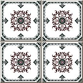 Vintage seamless wall tiles of greenframe spiral flower, Portuguese.