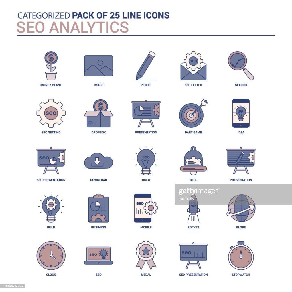 Vintage SEO Analytics Icon set - 25 Flat Line icon set