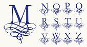 Vintage Set 2. Calligraphic capital letters with curls for Monograms
