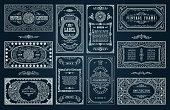 Vintage set, black retro cards. Template greeting card wedding invitation. Line calligraphic frames