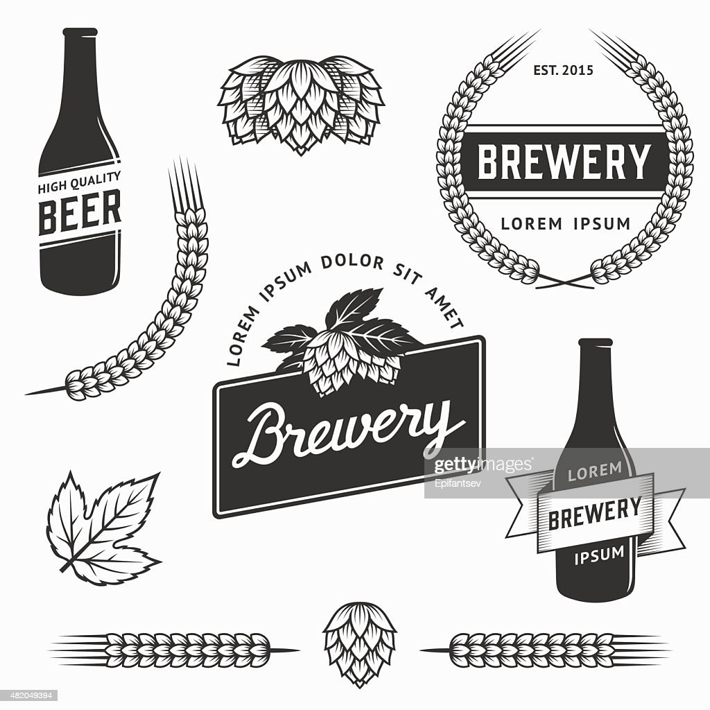 Vintage set of brewery logos and labels. Stock vector.