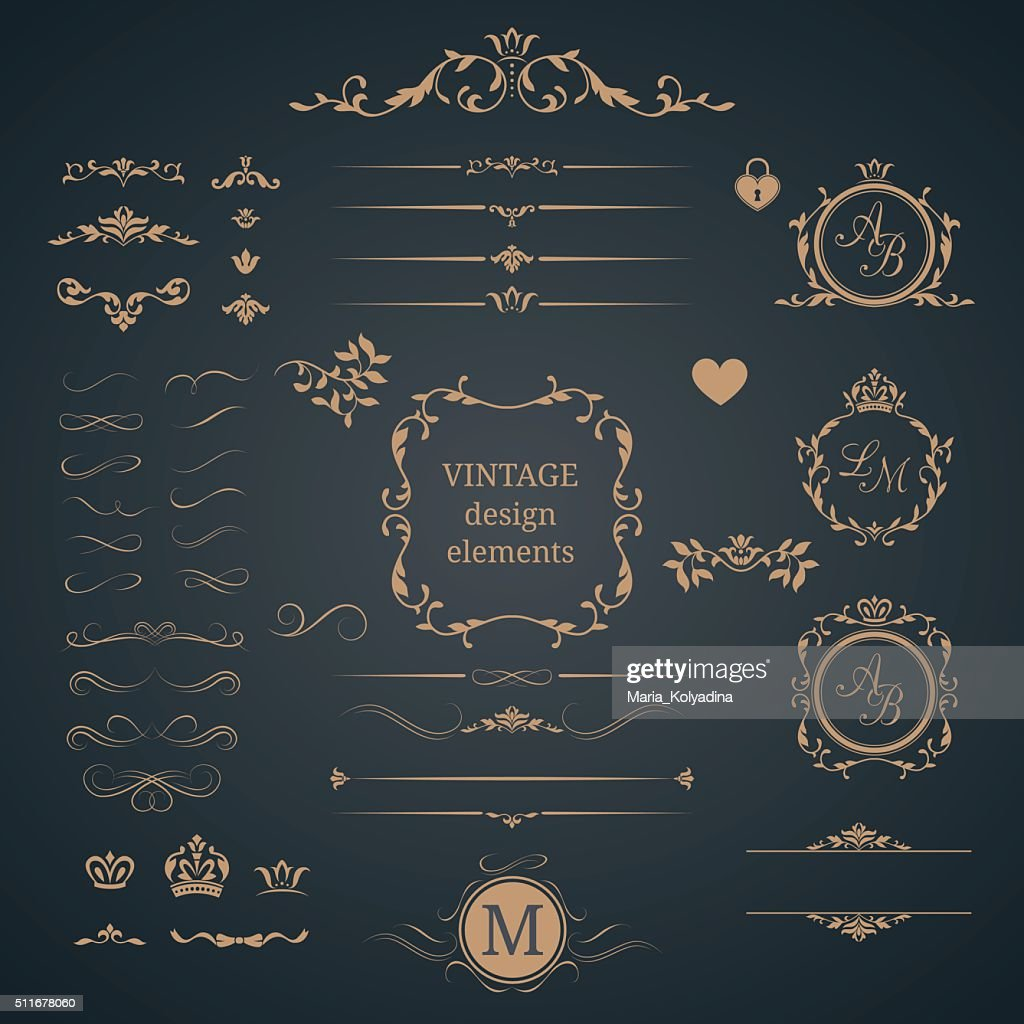 Vintage set of decorative elements