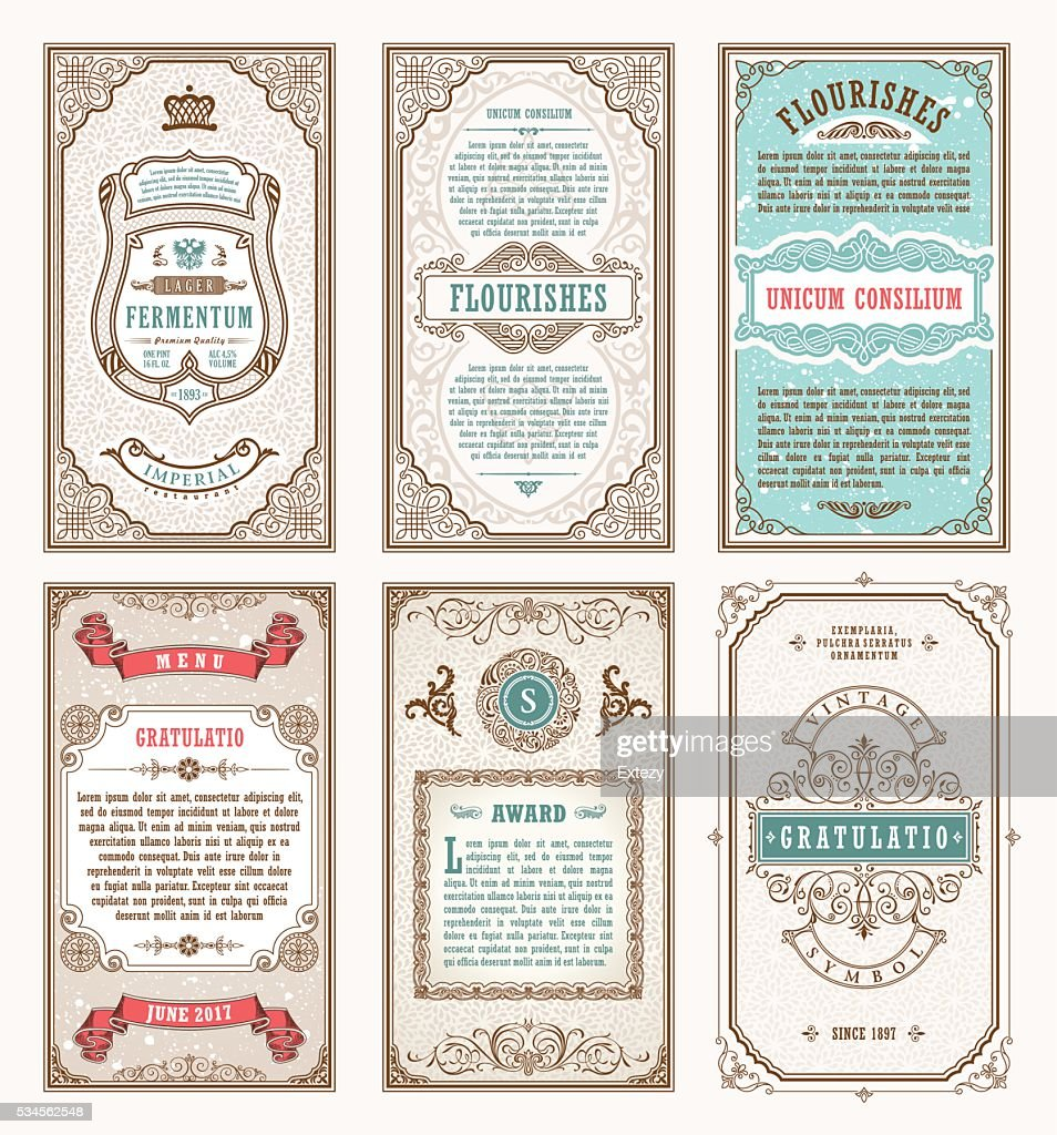 Vintage set retro cards. Template greeting card wedding invitation. Line