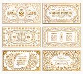 Vintage set retro cards. Template greeting card wedding invitation. Line