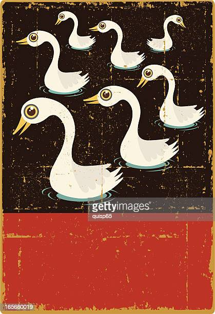 vintage seven swans a swimming - seventh day of christmas stock illustrations