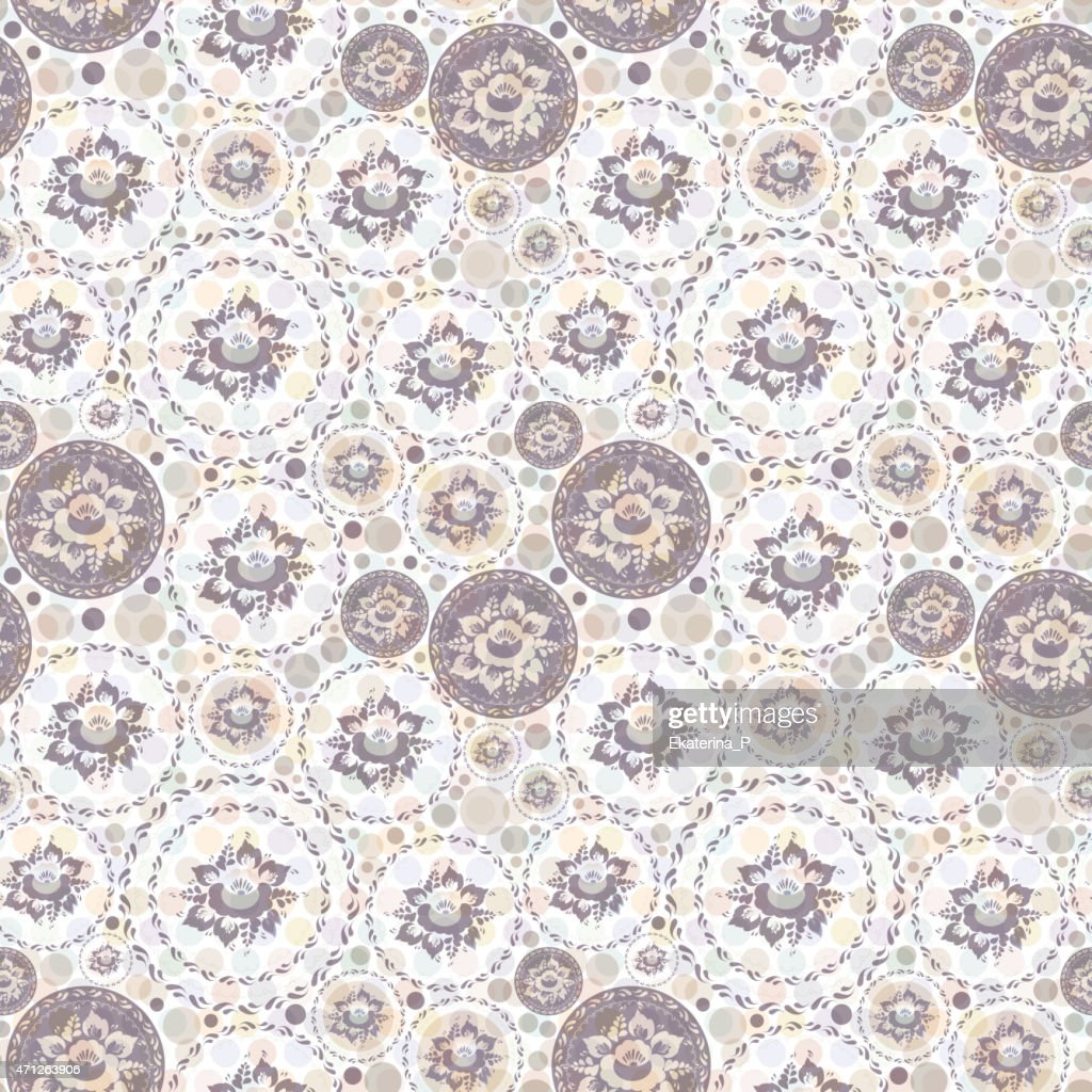 Vintage shabby Chic Seamless pattern with flowers and leaves.