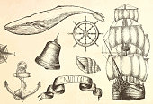 Vintage ship. Items on the marine theme.