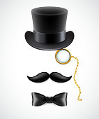 Vintage silhouette of top hat, mustaches, monocle and  bow tie