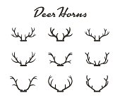 Vintage silhouettes of different deer horns, vector