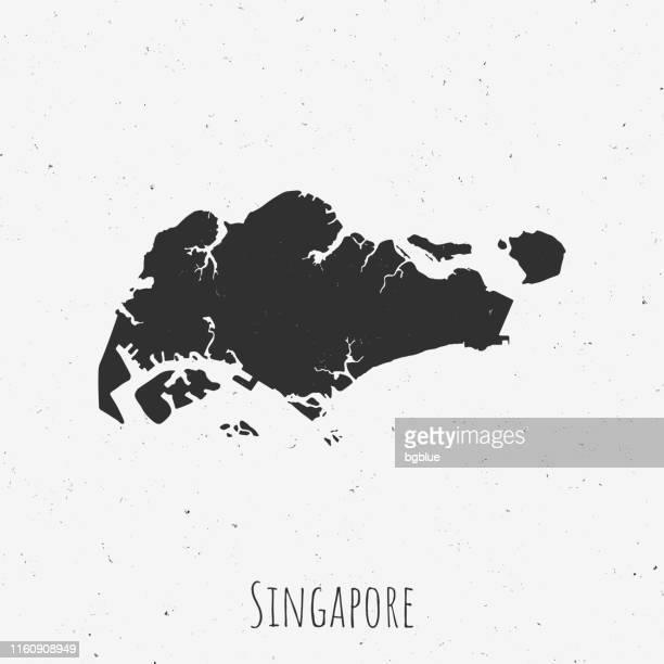 ilustraciones, imágenes clip art, dibujos animados e iconos de stock de mapa vintage de singapur con estilo retro, sobre fondo blanco polvoriento - ciudad de singapur
