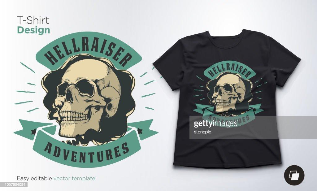 Vintage skull emblem. Print for t-shirts, sweatshirts and souvenirs.