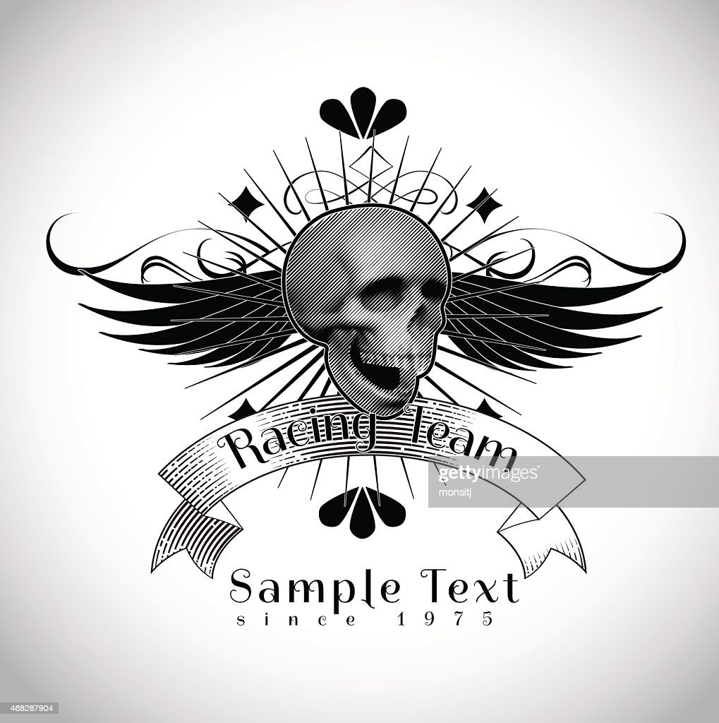 vintage skull racing team vector illustration vector art getty images