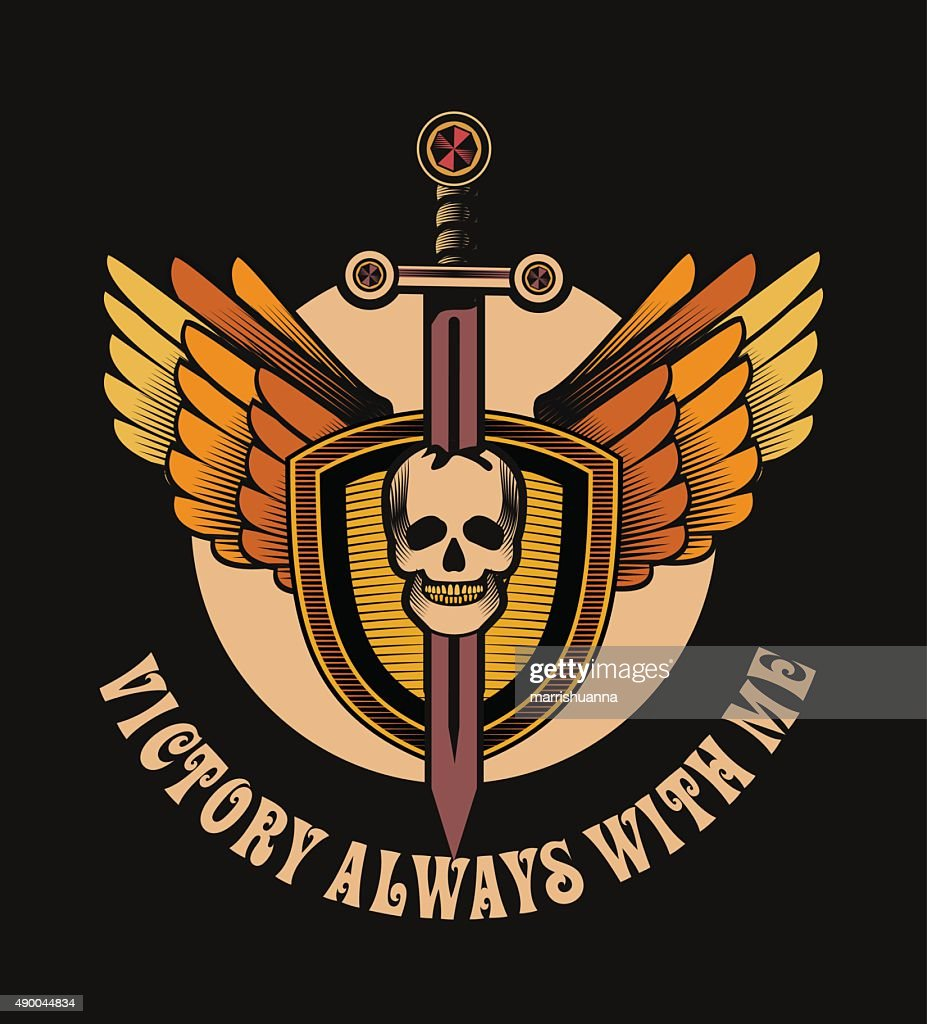 Vintage Skull With Sword And Wings Emblem Vector Art Getty Images