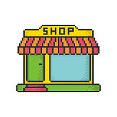 Vintage small shop pixel art style vector icon on white background.