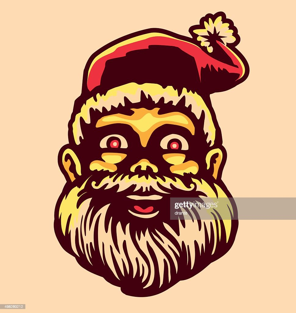 Vintage smiling cartoon Santa Claus head face, Christmas vector illustration