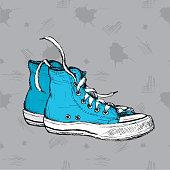 Vintage Sneakers Hand Drawn.