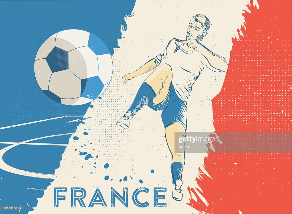 Vintage Soccer Background With France Player High Res Vector