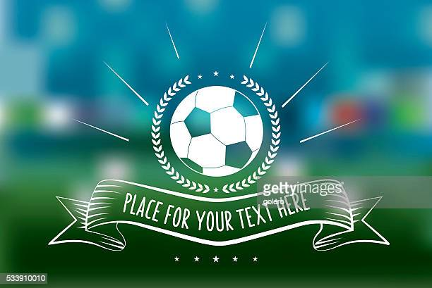 vintage soccer ball line art sign on blurred green background