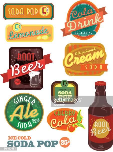 Vintage-soda pop label set auf weißem Hintergrund
