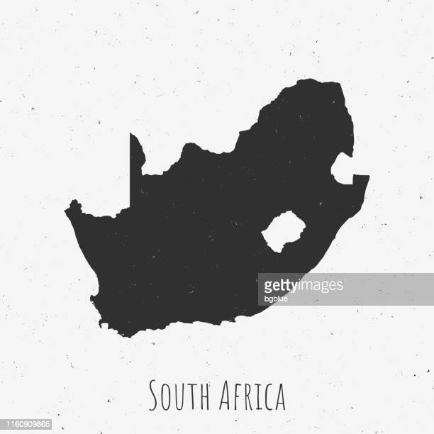 Vintage South Africa map with retro style, on dusty white background