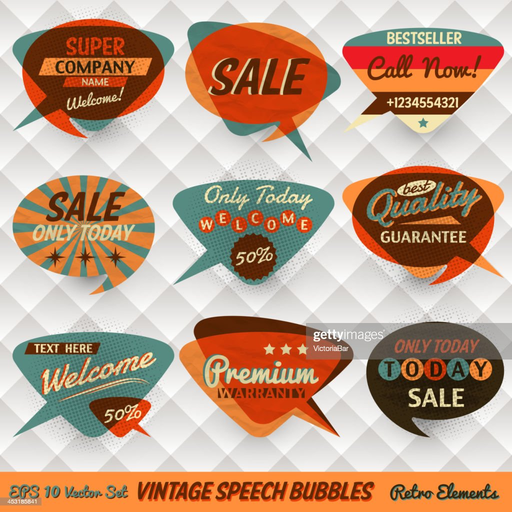 Vintage speech bubbles for shops