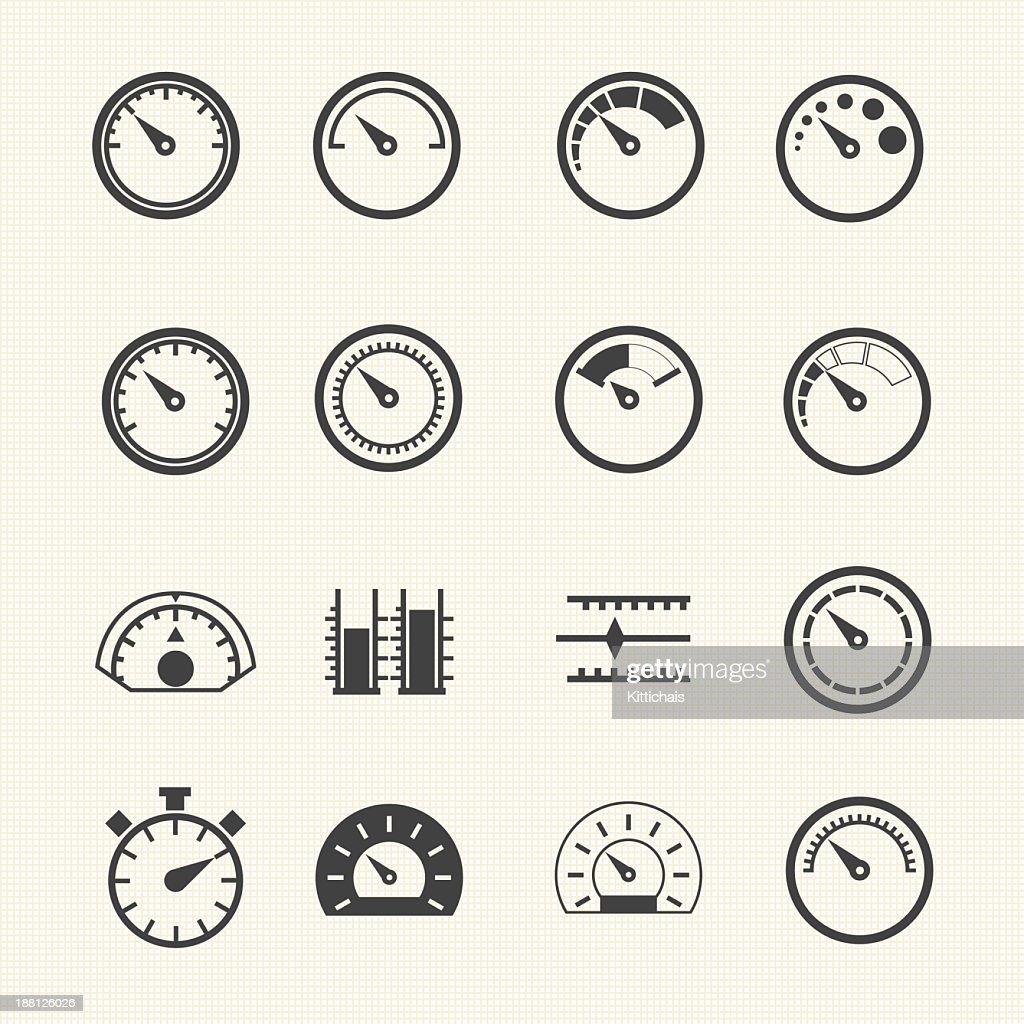 Vintage speedometers vector icons