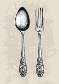 Vintage spoon and fork hand drawing,Spoon and fork sketch art isolate on grunge background