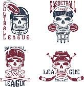 vintage sport vector grunge labels set with skulls