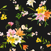 Vintage Spring Flowers Backgrounds - Seamless Floral Lily Pattern