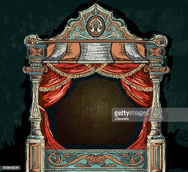 vintage stage theatre design - theatrical performance stock illustrations