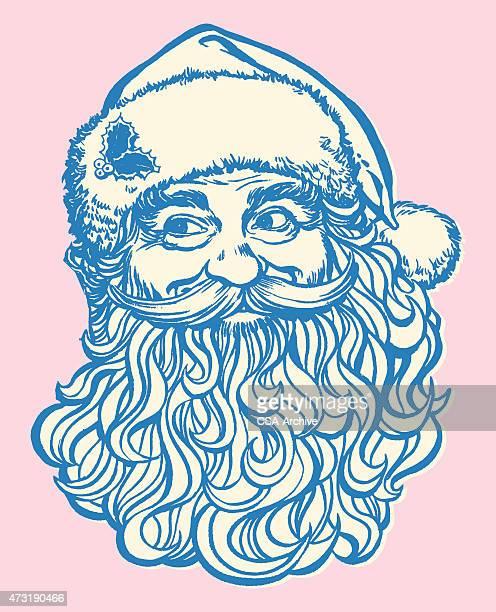 Vintage stamp of Santa Clause in blue ink on pink background